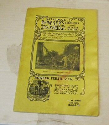 WWI Era Bowker's Fertilizers and Stockbridge Manures Catalogue Great Photos 24pg