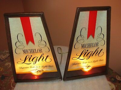 Vintage Michelob Light Beer Lighted signs/backbar plaques PAIR (NICE RARE PAIR)