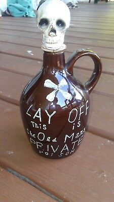 Vintage Lay Off This Is The Old Man's Private Poison Decanter Jug Skull Stopper