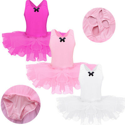 Girl Kid Ballet Dress Leotard Tutu Skirt Dance Ballerina Pettiskirt Swan Costume