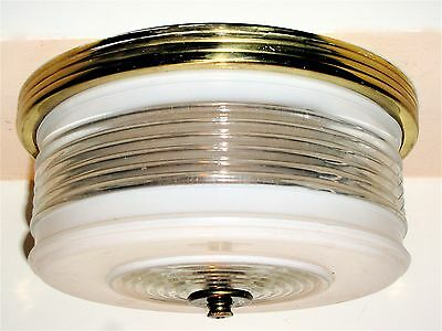 Vtg White/Clear Glass Shade On A Brass Flush Mount Ceiling Fixture, Rod, Finial!