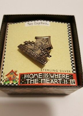 Mary Engelbreit Home Heart Sterling Silver Pin Brooch NEW