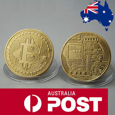 Gold Plated Cryptocurrency Bitcoin Collectable Novelty Coin