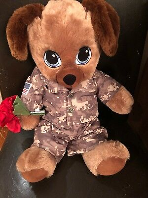 Build a Bear Sweet Hugs Brown Dog with Blue Eyes 16/'/' 2015 With Military Uniform