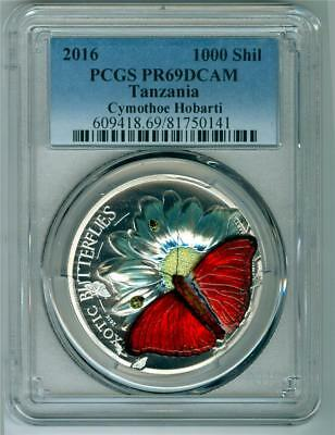 Tanzania 2016 1000 Shillings 3-D COLORED BUTTERFLY .999 silver PCGS PR-69 DCAM