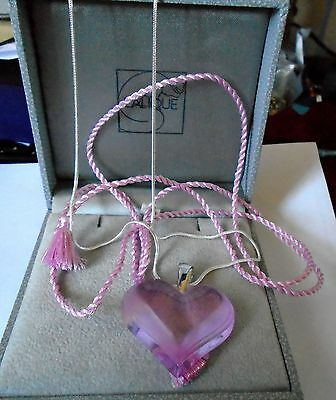 Lalique Beautiful Large Heart Stunning  Pink  & Sterling Silver Chain Luxury