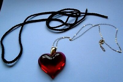 Lalique  Large Crystal Red Heart 9Ct Gold Chain & Silk Cord Outstanding