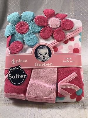 0a04a7dc2395 NEW Gerber Baby Girl Infant 4pc Terry Hooded Bath Set Flowers Pink Blue