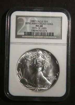 1987 Silver American Eagle 1 Oz Bullion Coin 20Th Anniversary Ngc Ms68