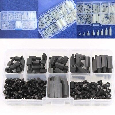 180Pcs Black Nylon M3 Hex Column Male-Female Standoff Spacers Screw Nut Kit Box