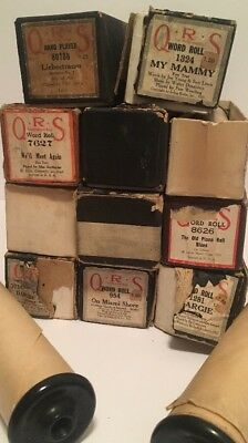 Antique 1920's QRS Lot of 13 Player Piano Roll w/box Music Word Roll RARE
