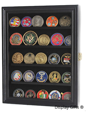 Lockable 30 Military Challenge Coin Display Case Shadow Box in Black Solid Wood
