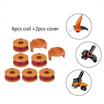 Worx GT Grass Trimmer Spool Line 2 6 - 8 Pack WA0010 and Spool Cap Cover WA6531