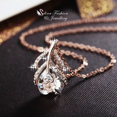 18K Rose Gold Filled Made With Swarovski Crystal Shiny Heart Feather Necklace