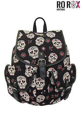 Banned Sugar Skull Print Day of the Dead School Bag Uni Punk A4 Canvas Backpack