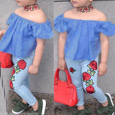 Toddler Kids Baby Girls Clothes Outfits Off Shoulder T-shirt Top+Jeans Pants Set