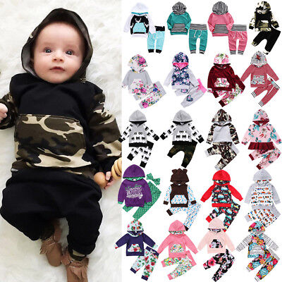 Pop Casual Infant Kids Baby Boys Girls Floral Camo Hooded Hoodie Outfits Sets