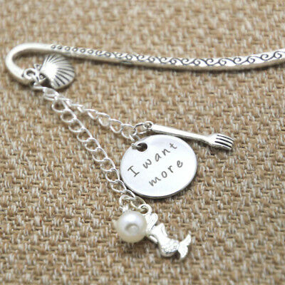 Ariel Little Mermaid bookmark I want more Pearl for women or girls silver tone
