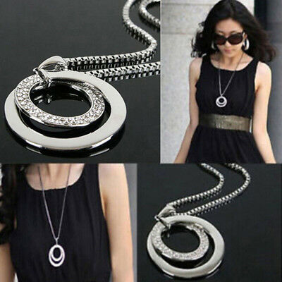 New Women Fashion Crystal Rhinestone Silver Plated Long Chain Pendant Necklace