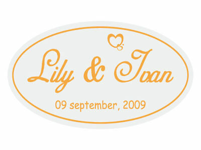 Personalised Oval Envelope Seals / Stickers / Labels for Wedding Invitation