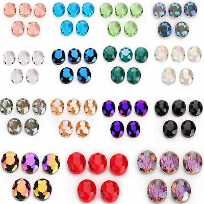10pcs 20x16mm Faceted Oblong Cut Glass Crystal Loose Spacer Oval Beads DIY Gifts