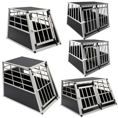 Aluminum Pet Dog Puppy Cat Cage Transport Crate Car Travel Carrier Box Kennel UK