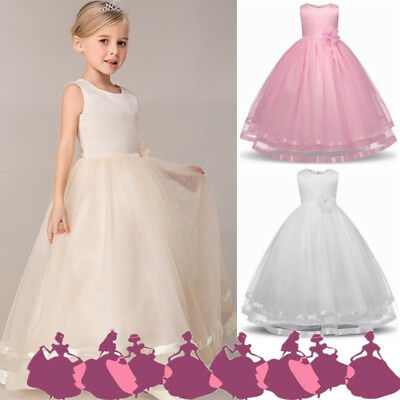 Flower Girl Princess Pageant Wedding Party Formal Birthday Kids Dress Years 4-12