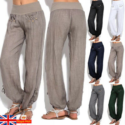 UK Women Casual Linen Harem Pants Loose Baggy Wide Leg Ladies Yoga Long Trousers