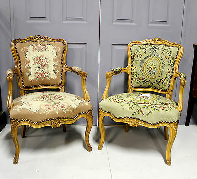 Two Pretty French Tapestry Upholstered Chairs In Beech