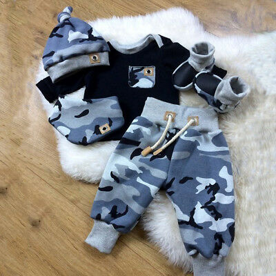 Newborn Infant Baby Boy 3pcs Clothes Camouflage Top Long Pants Hat Outfits Set