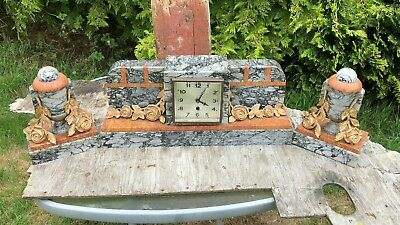 Beautiful Antique Vintage Art Deco Marble German 5 Jewels Clock *