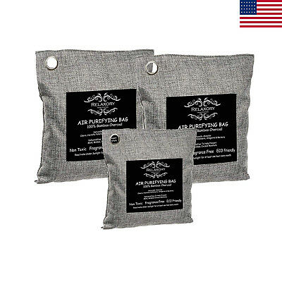 3Pack Activated Nano Bamboo Charcoal Bag Air Purifier 100% Natural Odor Absorber