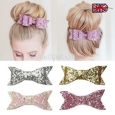 "4 ""Neonate SEQUINED BOW Alligator Clip per capelli Glitter accessori per capelli"