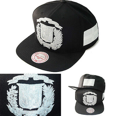 089fac7921c Dominican Republic Black Snapback Hat Metalic Silver Logo Cap by Mitchell    Ness