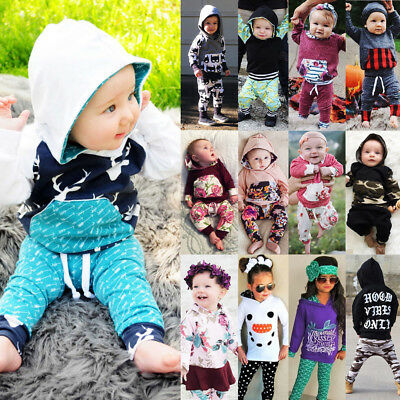 US Seller Hot Kids Baby Boys Girls Floral Camo Hooded Hoodie Outfits Set Clothes