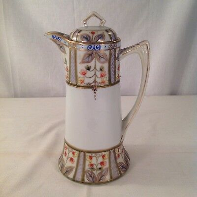Vintage Hand Painted Nippon Chocolate Pot Gold Gilding