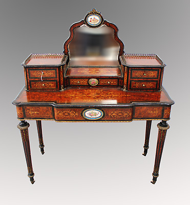 A French Burr Walnut, Ebony And Inlay Bonheur Du Jour With Porcelain Plaques