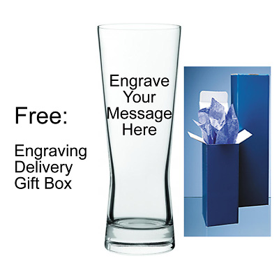 Engraved Birthday Retirement Gift Personalised 1 Pint Bubble Base Lager Glass
