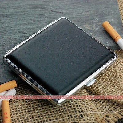 New Black Smoke Holder Box 18 Cigarette Case White copper Tobacco Pocket
