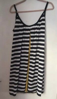 Gorgeous Mamas And Papas Blue And Cream Striped Ladies Maternity Dress S12 BB3