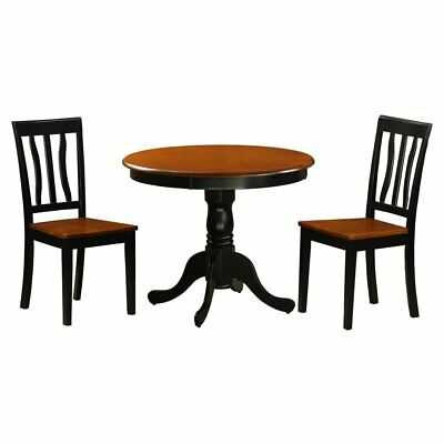 East West Furniture Antique 3 Piece Pedestal Round Dining Table Set with Wooden