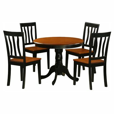 East West Furniture Antique 5 Piece Pedestal Round Dining Table Set with Wooden