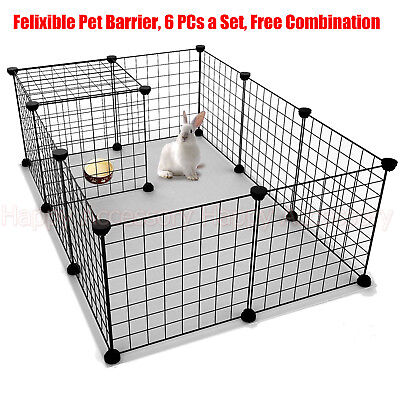 Pet Dog Puppy Foldable Metal Wire Fence Cage Barrier PlayPen Assemble 6 Panels
