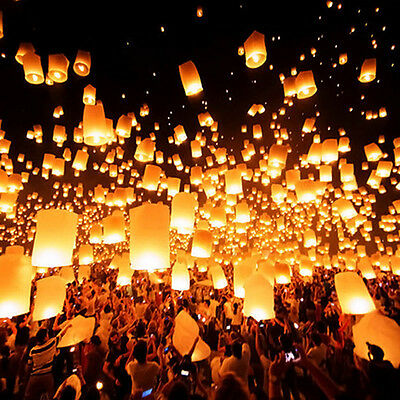 10x Sky Flying Lanterns floating Khoom Fay Kong Ming Wirefree light party Taiwan