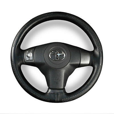 Car Auto Steering Wheel Cover DIY Black Real Leather Wrap With Needles & Thread