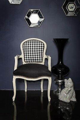 10 x Joblot French Louis Armchair Black White Gingham Check Bedroom Chair