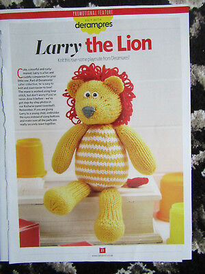 Larry Lion Toy Knitting Pattern Approx 25cm Tall 130 Picclick Uk