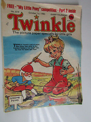 1983 Twinkle Comic, Puzzles done, Twinkle cut-out Doll & Clothes intact No 819