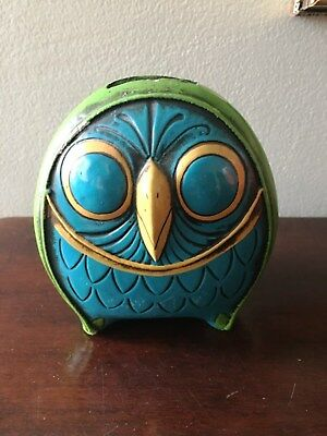 Vintage Mid-Century MOD Turquoise Blue Green Papermache Owl Bank