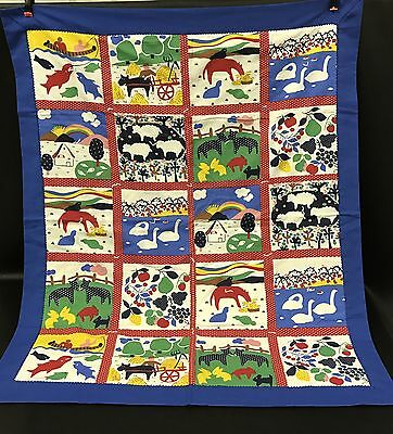 VTG Handmade Primary Colors Retro Baby Lap Quilt Wall Hanging 38x48 Animals B7